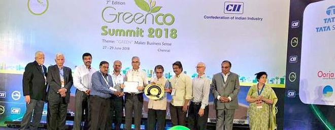 P.N. Jha, Chief Workshop Manager, Golden Rock Railway Workshop, receiving the award on Thursday.