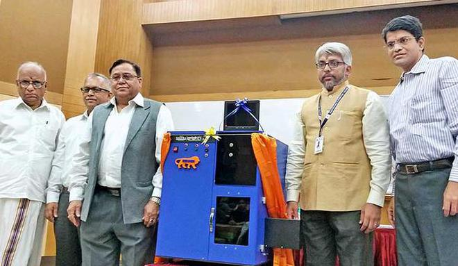 MILESTONE:The indigenously-designed laser bio-printer 'SHRISTI' that was launched at SASTRA Deemed University on Monday by V. K. Saraswat (third from left), Member, NITI Aayog.HANDOUT