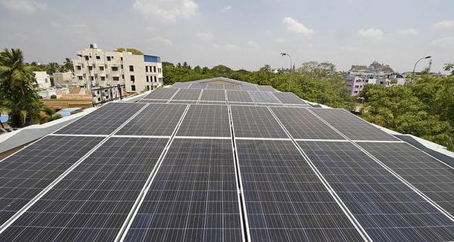 Solar panels installed at TANGEDCO's office.Photo: M. Srinath