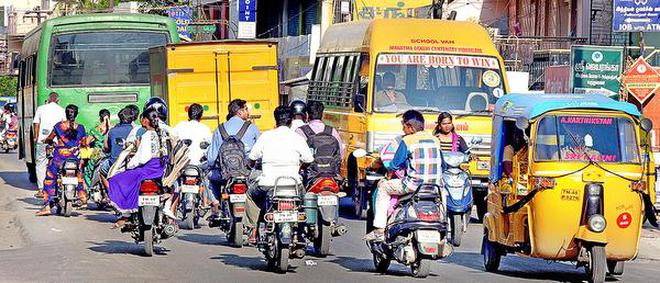 Traffic congestion is a common sight on Vayalur Main Road, which is struggling to cope with the boom in vehicle population.Photo: M. Moorthy