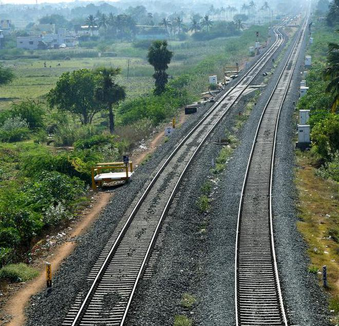 Electrification work in the nearly 50-kilometre broad gauge section will be completed before the time set by the Railway Board.Photo: M. MoorthyM_Moorthy