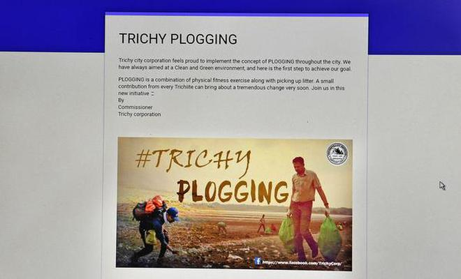 A screen shot of Tiruchi Corporation's 'Plogging' on Facebook page.Photo: M. Srinath