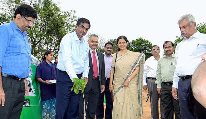 N. Ravichandran, Special Officer and Commissioner of Tiruchi Corporation, planting a tree sapling on NIT-T campus.