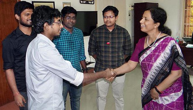 Mini Shaji Thomas, Director NIT, greeting a prospective entrepreneur identified for seed-funding in Tiruchi.HANDOUT