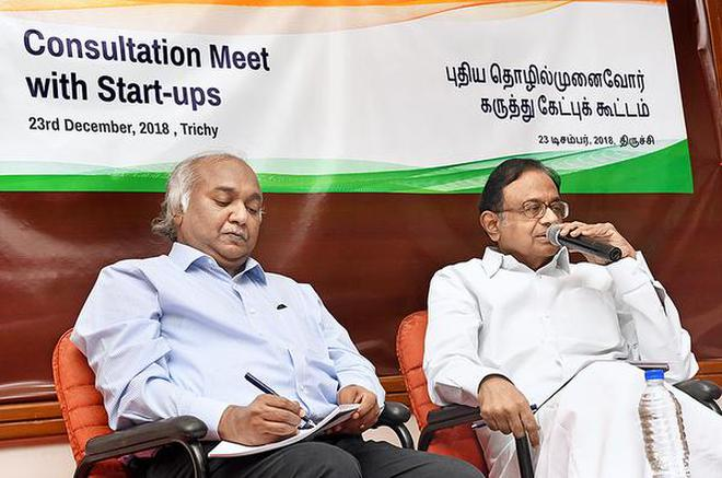 Former Union Finance Minister P. Chidambaram speaking at a consultation meet in Tiruchi on Sunday.M. Srinath
