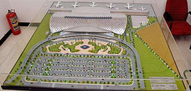 Model of the new integrated passenger terminal building displayed at Tiruchi airport.M. SrinathM_SRINATH