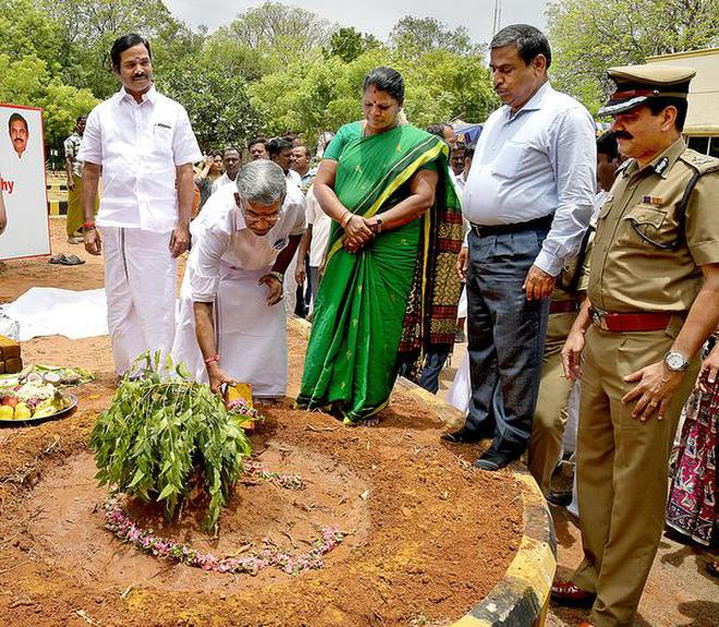 Major makeover:Minister for Tourism Vellamandi N. Natarajan laying the foundation stone for the improvement work at the Children's Traffic Park in Tiruchi on Wednesday.M. MoorthyM_Moorthy