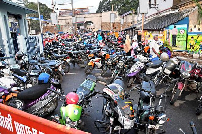 Two-wheelers parked at Main Guard Gate in Tiruchi on Wednesday.M.Srinath