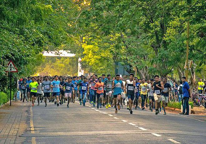 Students of the National Institute of Technology participating in the Sportsfete Marathon in Tiruchi on Wednesday.