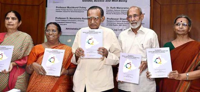 Calling for action:Former Foreign Secretary Muchkund Dubey (centre), and former UoH professors D. Narasimha Reddy and Shanta Sinha releasing 'Telangana Social Development Report-2018' in the city on Tuesday.K.V.S. Giri